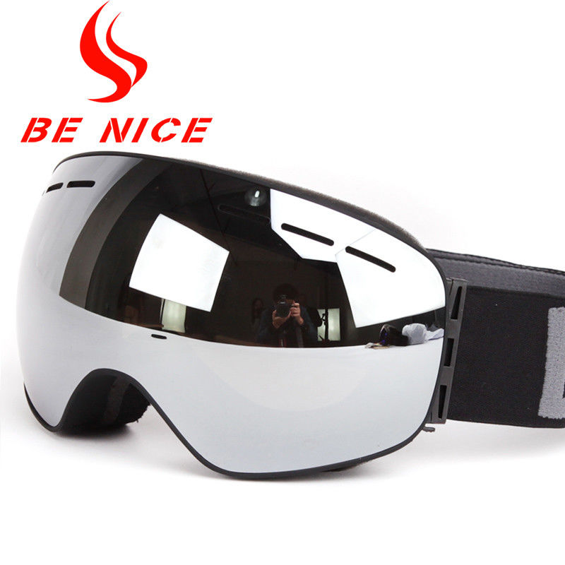 Professional Adult Mirrored Ski Goggles Interchangeable Lens for Mens and Womens