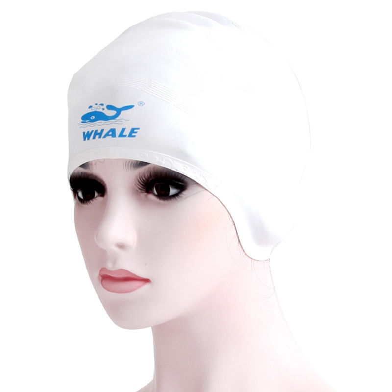 White Long Hair Swim Caps , Swimming Head Cap For Swimming For Long Hair
