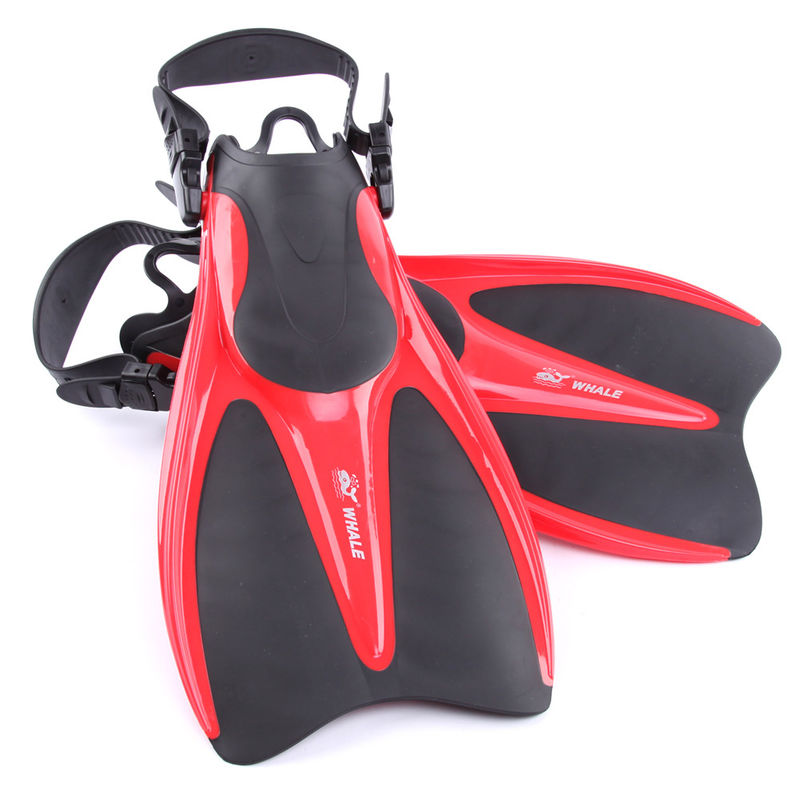 Red Black Skin Diving Fins Swimming Training with Open Heel Design