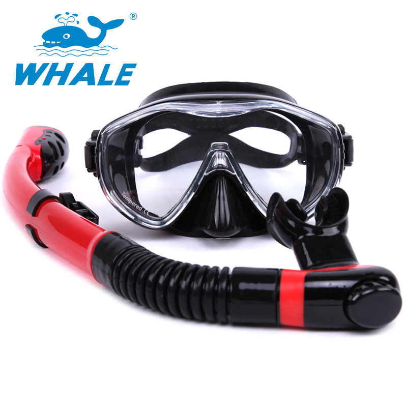 Red Black Diving Mask And Snorkel Sets Professional For Water Sports Equipment