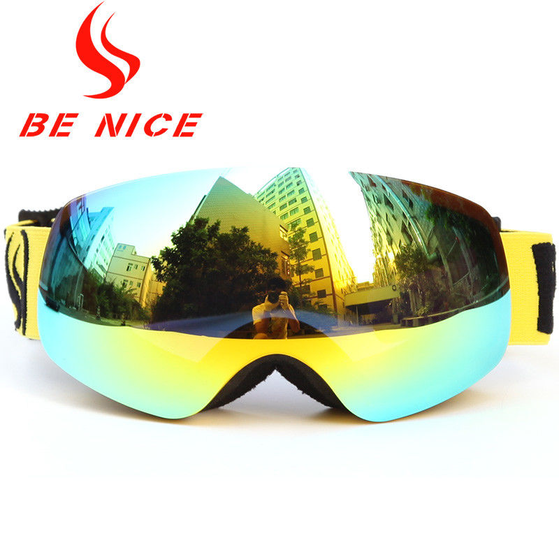 Anti Impact Gold Kids Snowboard Goggles , Fashion High Visibility Ski Goggles