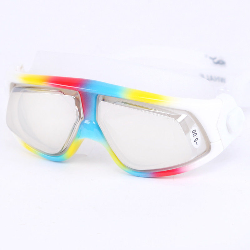 Colorful Anti Fog Prescription Swimming Goggles UV Protection For Adult Game
