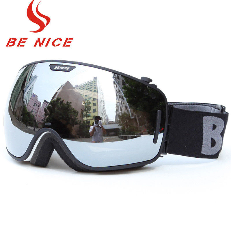 Big Spherical Black Mirrored Ski Goggles , Anti Scratch Tinted Snowboard Goggles