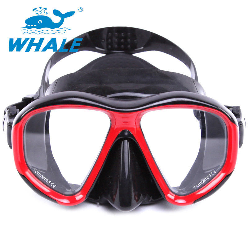 UV400 Protection Anti Fog Diving Mask With Tempered Glass Lens , black red