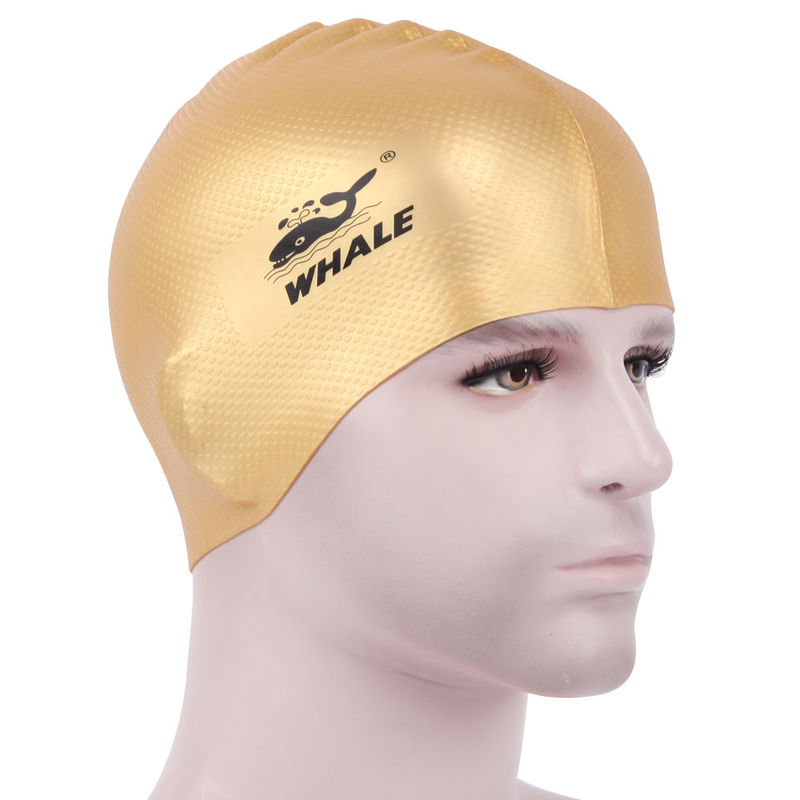 High Elastic Silicone Swim Hat , Waterproof Bathing Cap For Men & Women