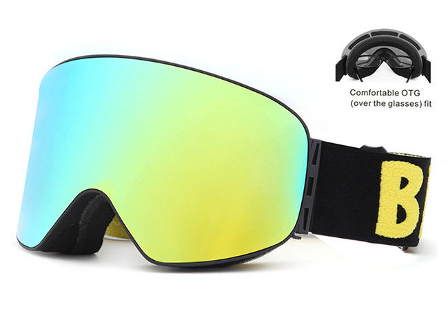 Triple - Layer Mirror Lens Snow Goggles Two Ways Smooth Venting For Winter Sports