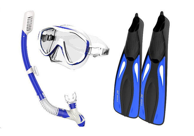 Silicone Monthpiece Adult Snorkel Set 100 % Leak - Proof With Blue Color